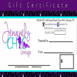 Image of $50 Jenuinely Chic Gift Certifcate