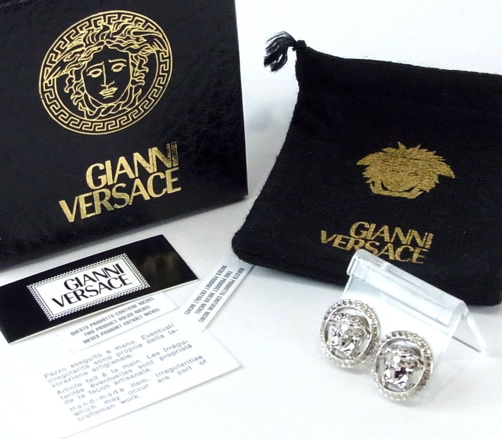 Image of GIANNI VERSACE SILVER TONE MEDUSA ROUND TYPE CLIP ON EARRINGS MADE IN ITALY