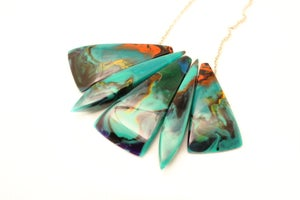 Image of Malachite Toned Anvil and Obelisk Necklace