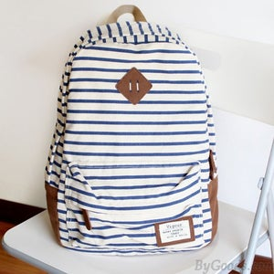 Image of Fresh Striped Leisure Canvas Backpack