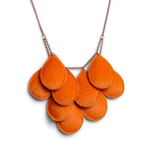 Image of Pepitas, Furry Leather Necklace, Orange