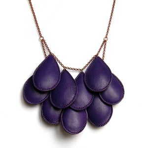 Image of Pepitas, Leather Necklace, Dark Purple