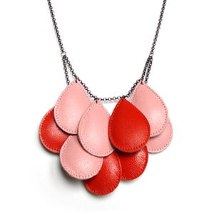 Image of Pepitas, Leather Necklace, Two-tone, Pink and Red