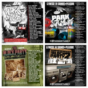 Image of THE BLOCK PARTY MIX (90s HIP HOP) VOL. 1 & 2 // PARK JAMS MIX (80s HIP HOP) VOL. 1 & 2,