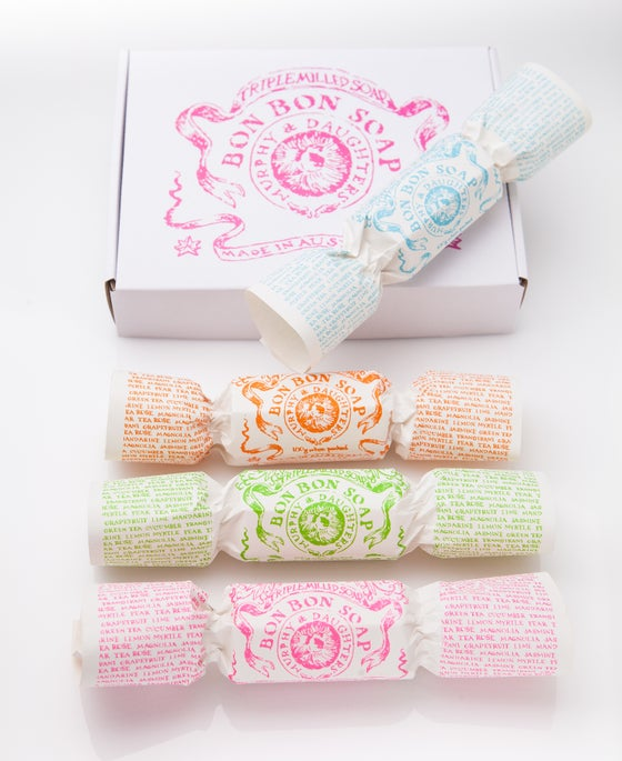 Image of Bon Bon Soap - Pink gift box with 4  different coloured & fragranced Bon Bons
