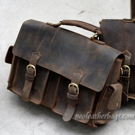 "Image of Vintage Handmade Crazy Horse Leather Briefcase / Messenger / 13"" Laptop or 13"" MacBook Bag (n23-3)"