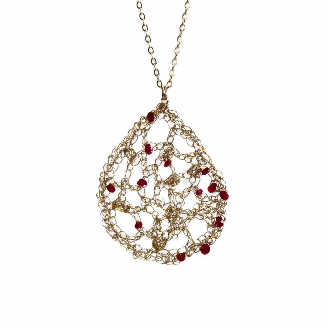 Layered necklace with rubies / Radka Design