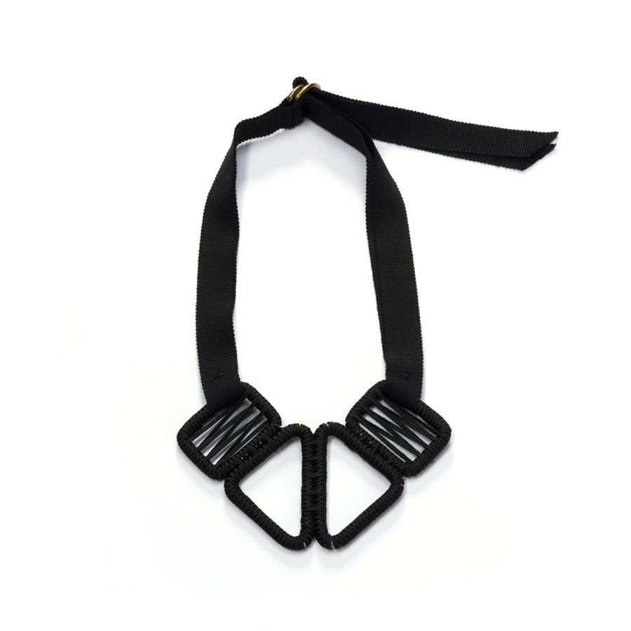 Image of short woven necklace #943, color 10B (carbon/light bronze)