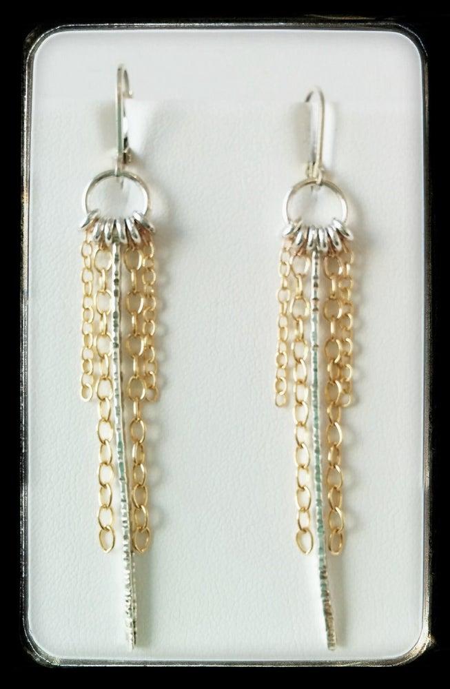 Image of spike/chain/rings earrings