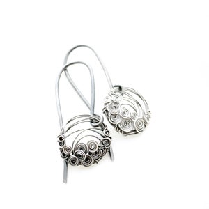 Image of Small Circles Earrings. Oxidized Silver Jewelry.