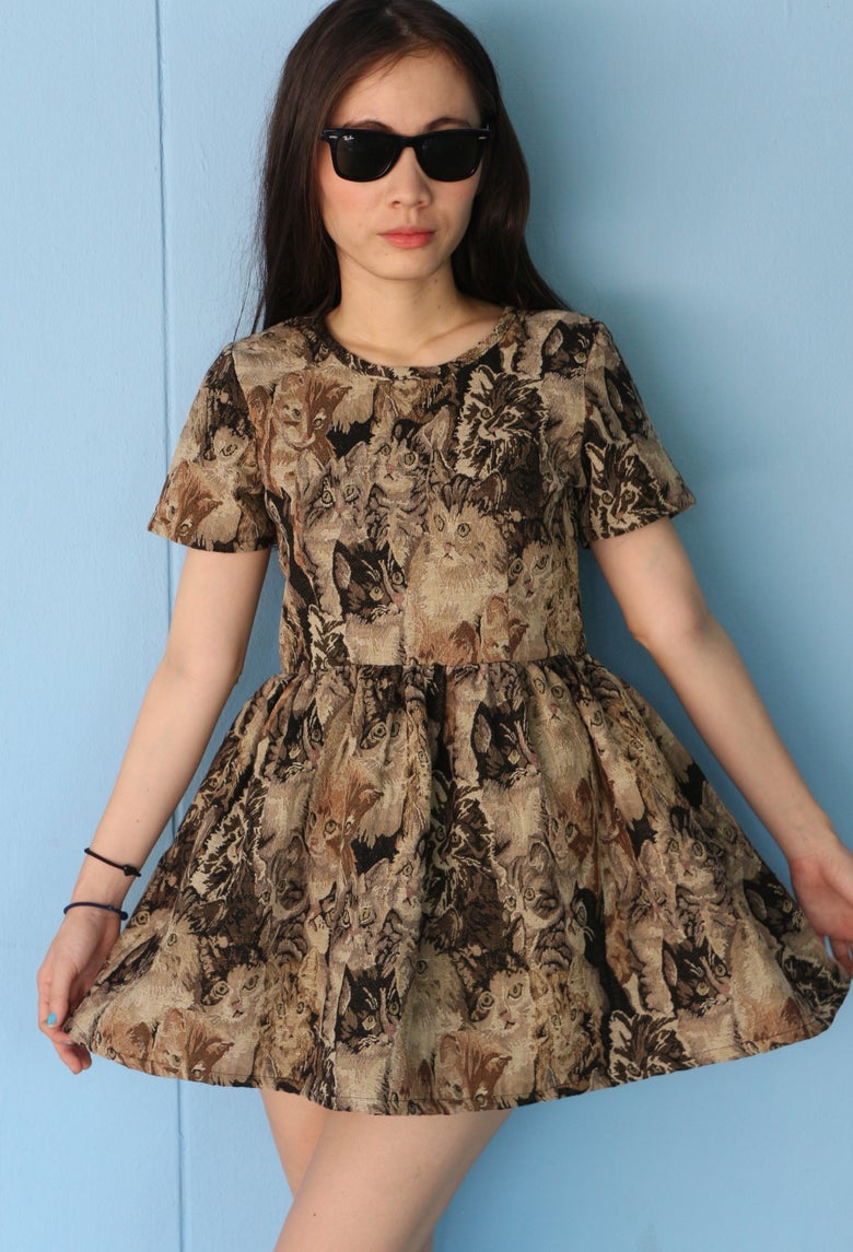 Image of Ready To Post - Kitten Tapestry Baby Doll Dress