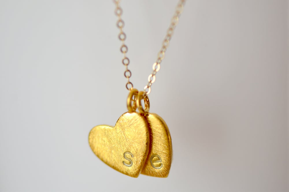 Image of Gold Heart Monogram Necklace