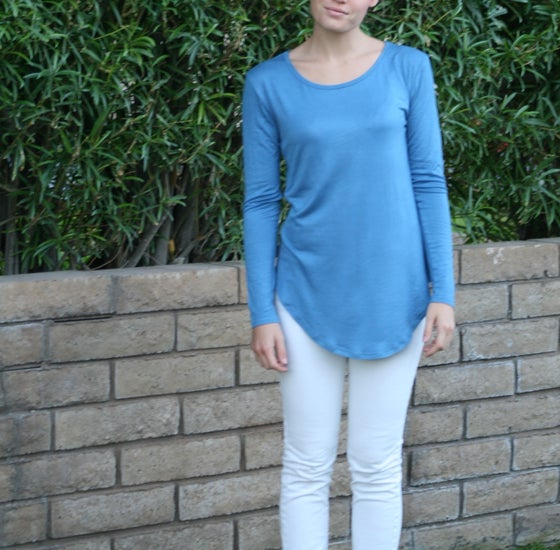 Image of Long Sleeve Boyfriend Tee BLUE SMALL