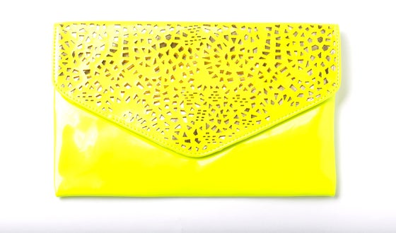 Image of Yellow lazer cut clutch