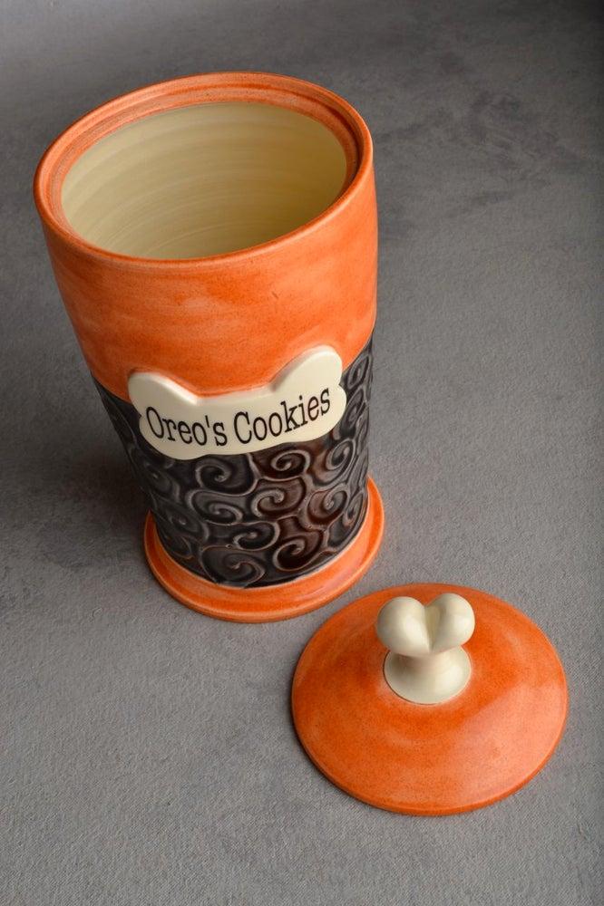 Image of Dog Treat Jar Black & Orange Oreo