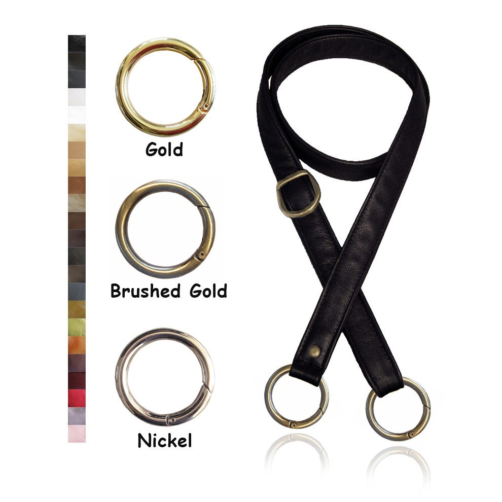 "Image of 55"" (inch) Adjustable Leather Strap - 1"" (inch) Wide - Your Choice of Color & Large O-Ring Hardware"