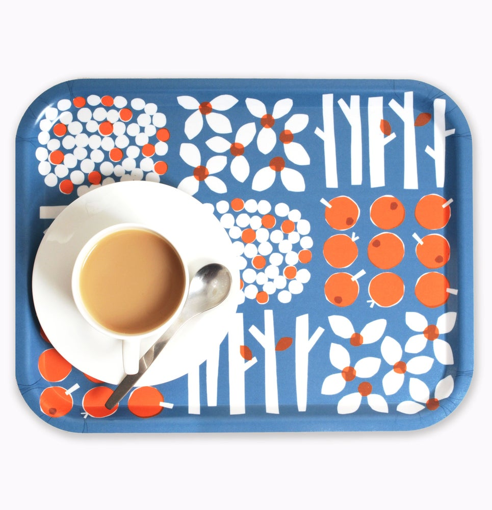 Image of Rectangular birchwood blue/orange tray