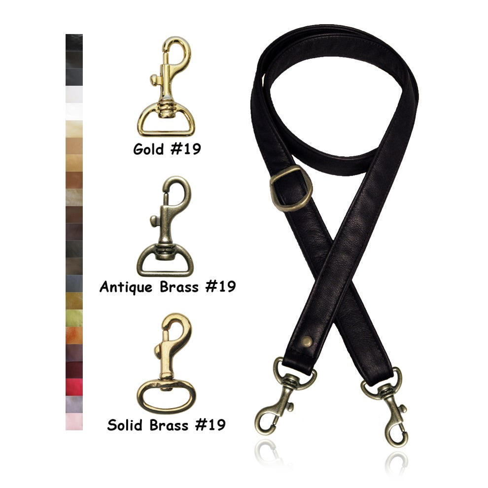 "Image of 55"" (inch) Adjustable Purse Strap - 1"" (inch) Wide - Your Choice of Leather & Gold Tone Hook #19"