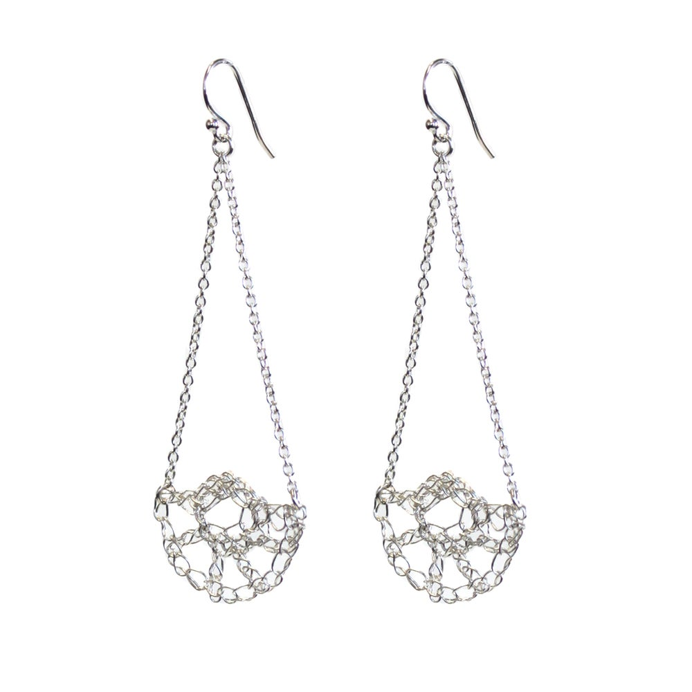 Image of Half Shell Swing Earrings - Silver