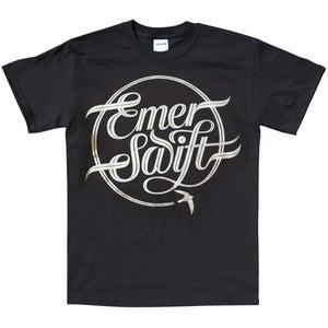 Image of Emer Swift t-shirt silver print on black ltd edition.