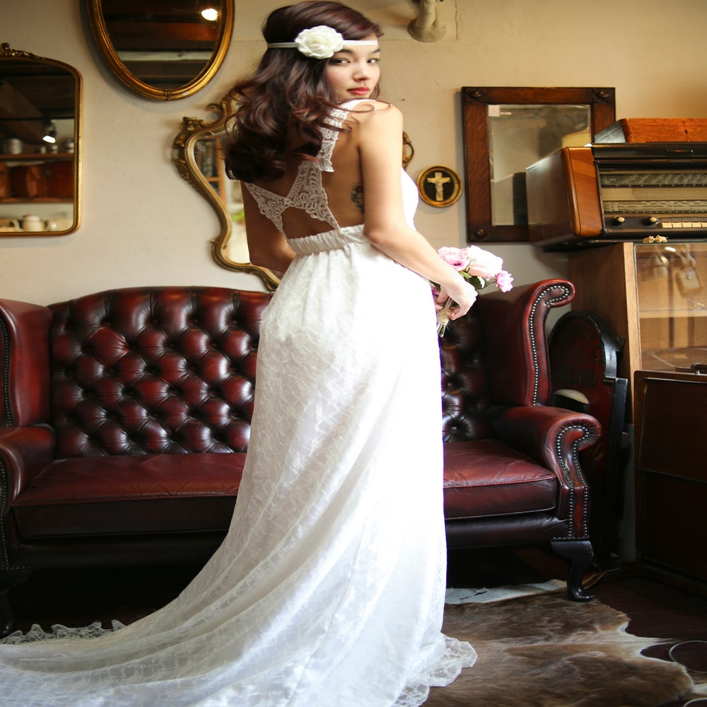 Lace butterfly back wedding dress made to order vivat for Butterfly back wedding dress