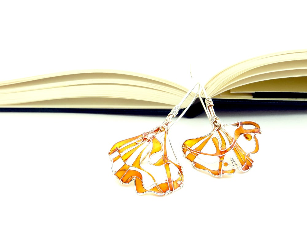 Image of Ginkgo Leaves Silver Earrings