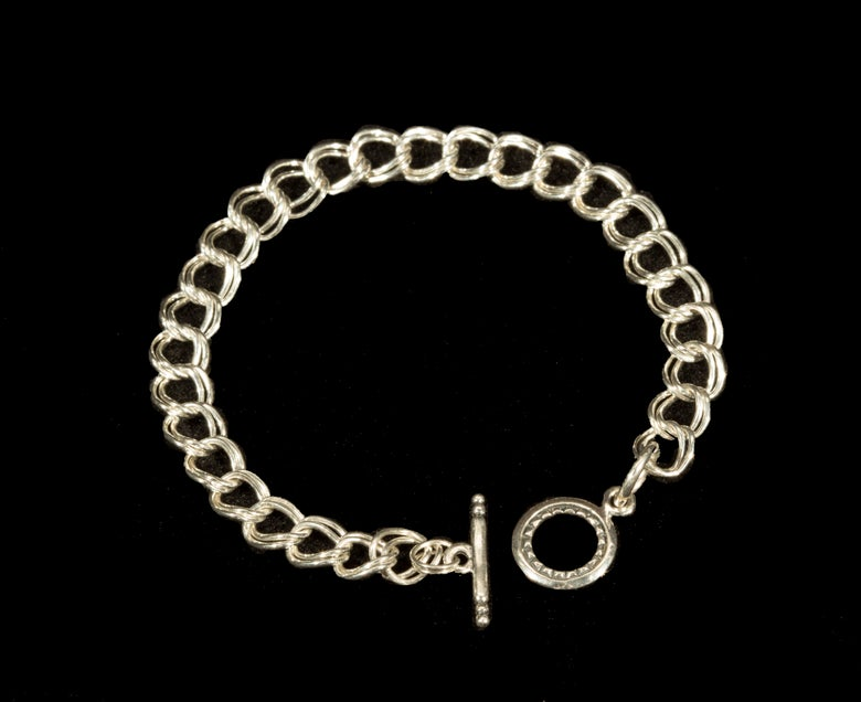 Image of Silver Charm Bracelet - Double Wire. Bracelet only.