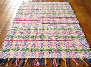 Image of Handwoven Rag Rug - Pink, lime green, hot pink / Eco-Friendly, upcycled