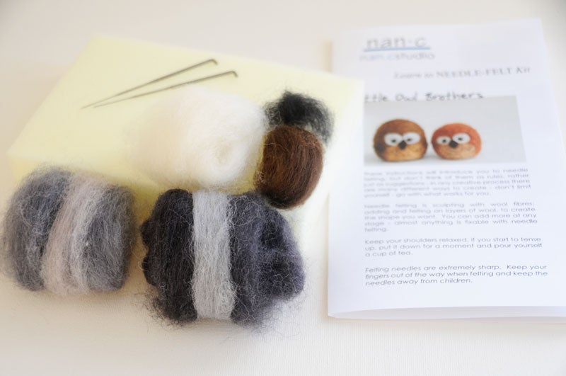Image of Little Owl Brothers - Needle Felting Kit