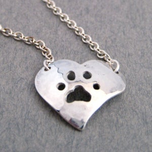 Image of Paw Heart Necklace - Sterling Silver