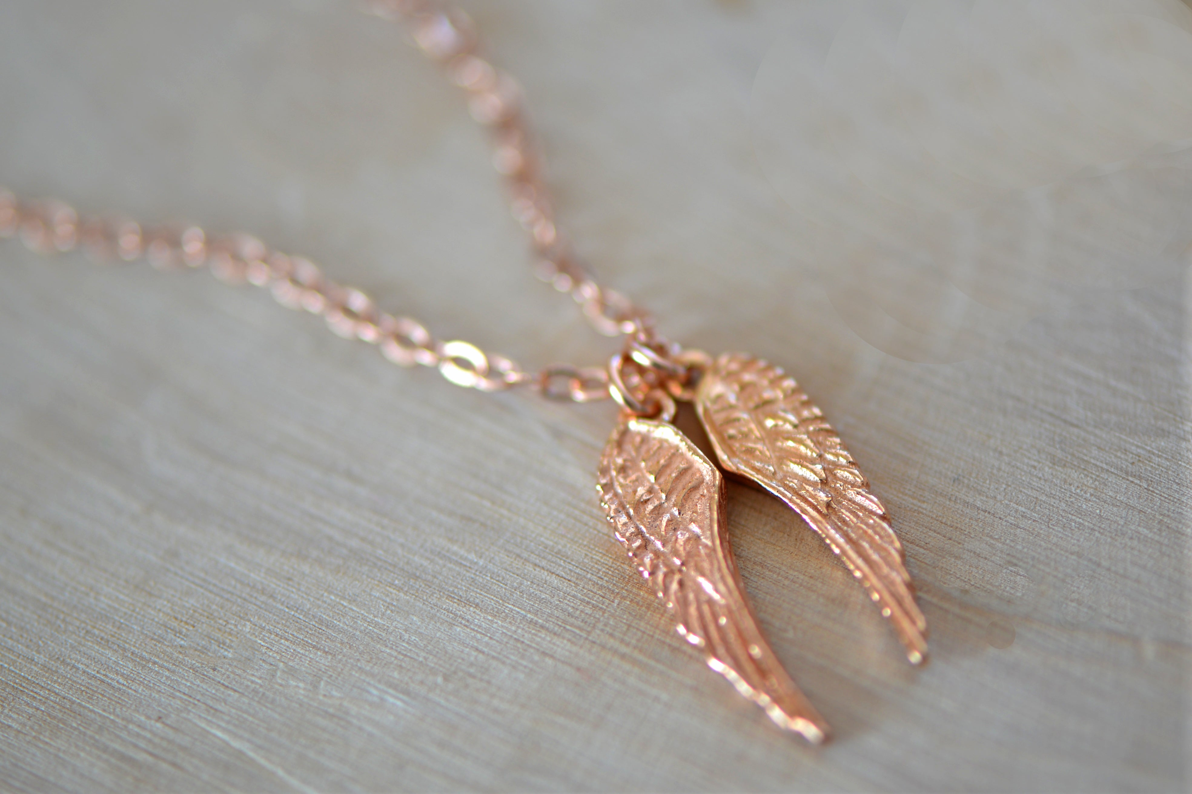 Rose Gold Angel Wings Necklace / NipponEki Jewelry