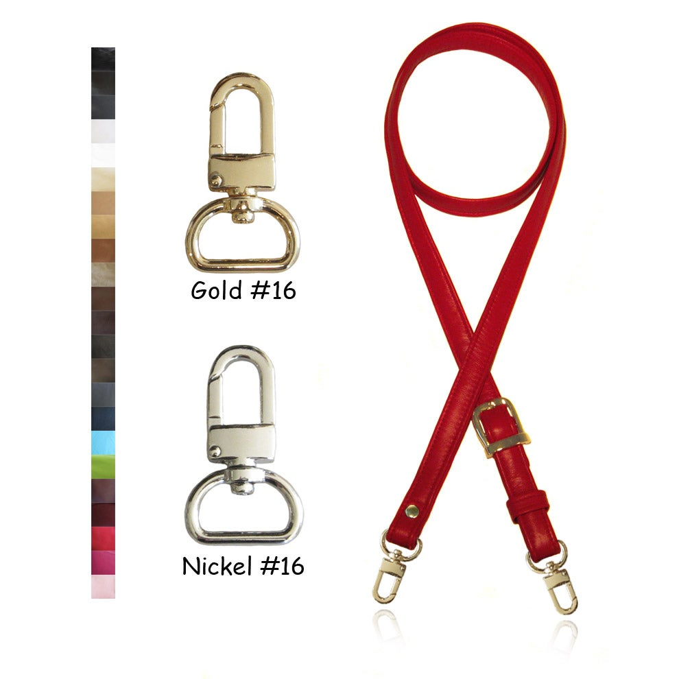 "Image of Extra Long 60"" Leather Handbag Strap - .75"" (3/4"" inch) Wide - Your Choice of Color & Hardware #16"
