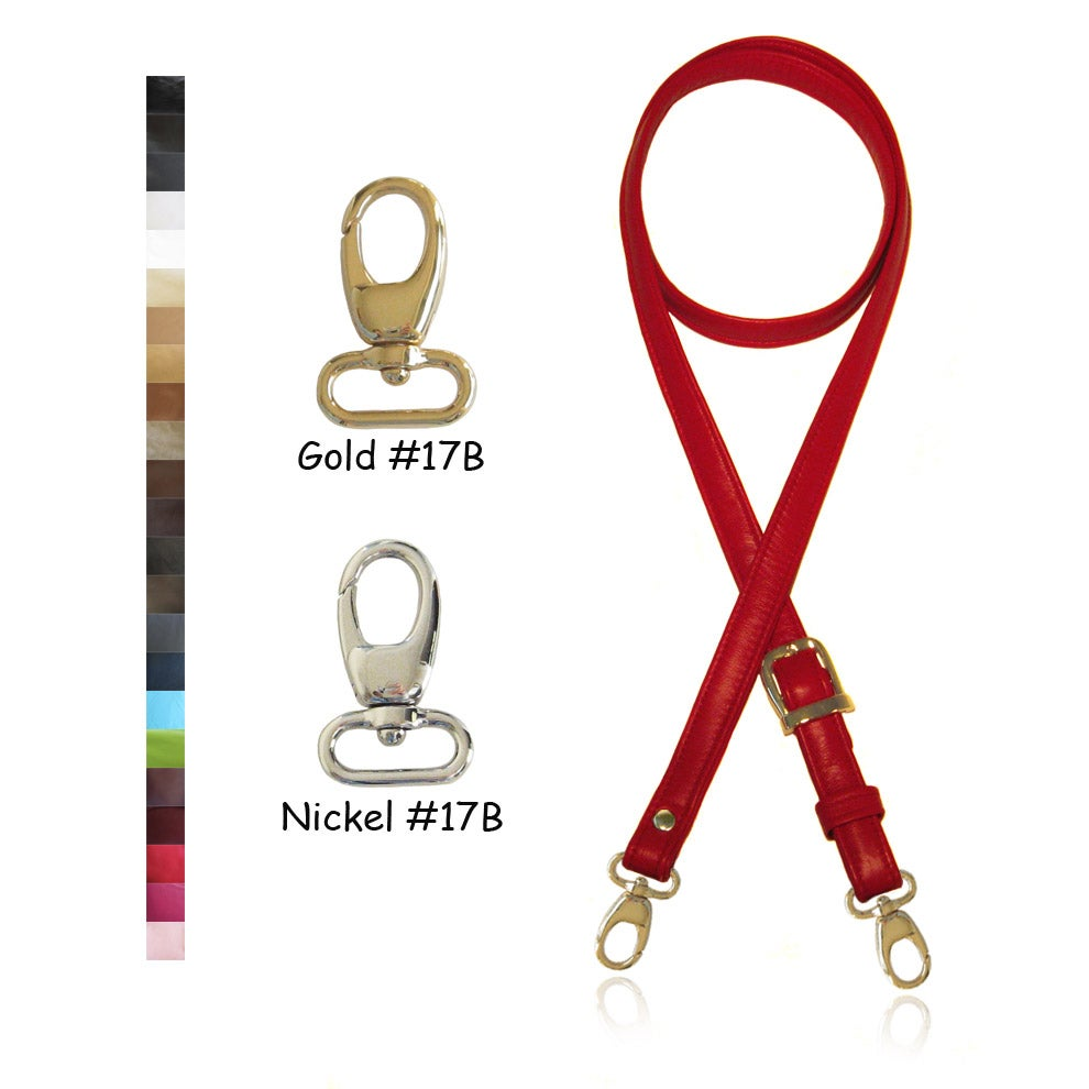 "Image of Extra Long 60"" Leather Handbag Strap - .75"" (3/4"" inch) Wide - Your Choice of Color & Hardware #17B"