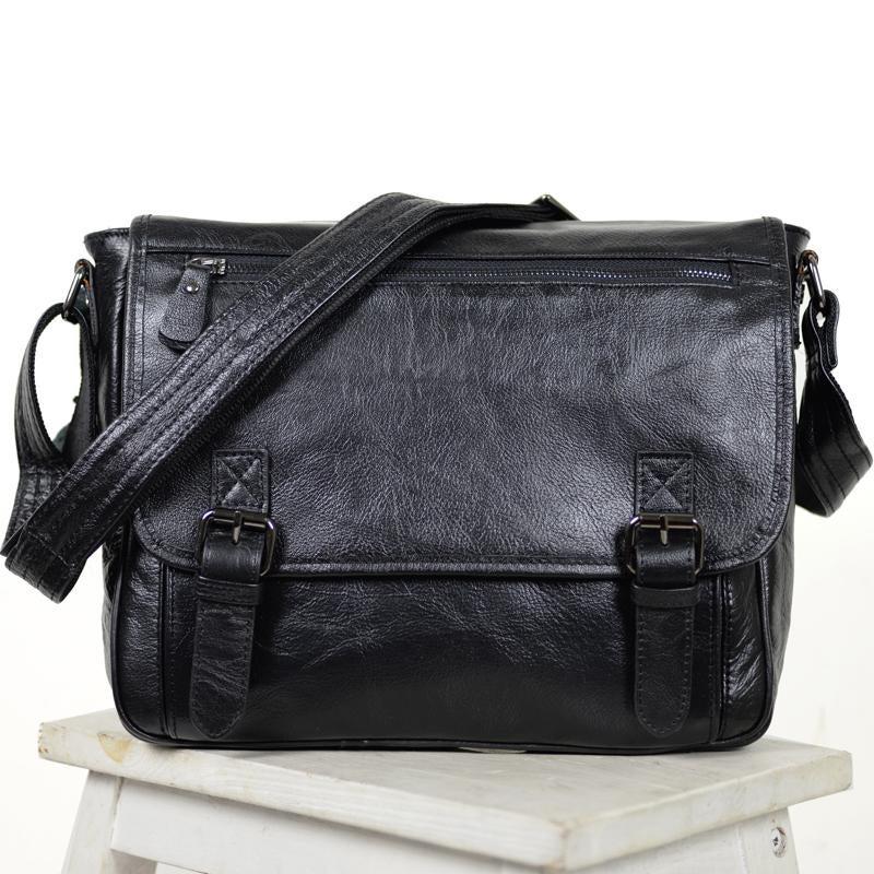"""Image of Handmade Leather Messenger Bag / Satchel / 11"""" MacBook Air Bag in Black (n84-3)"""