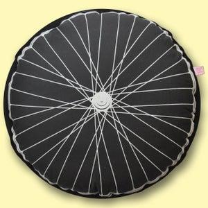 Image of Bike Wheel Cushion - Charcoal and Yellow