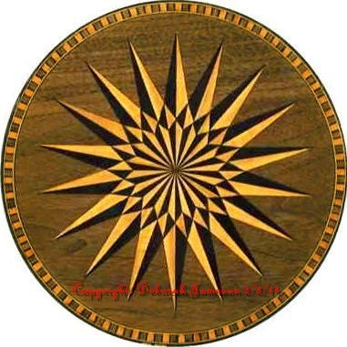Image of Item No. And3. Marquetry Starburst Compass Rose.
