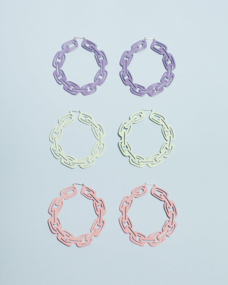 Image of Pastel Chain Hoops
