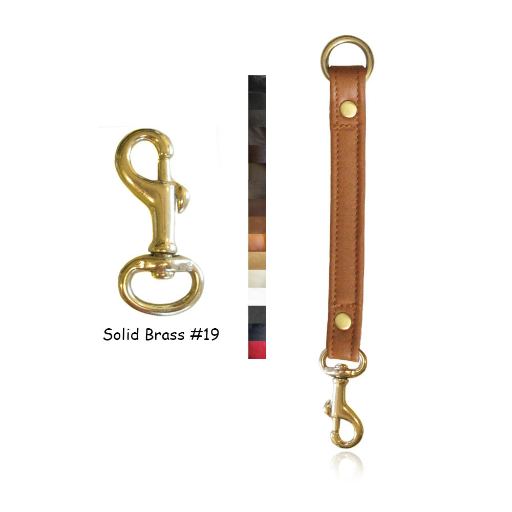 "Image of Leather Strap Extender - .75"" Wide - Solid Brass #19 Hook - Choice of Leather Color & Length"
