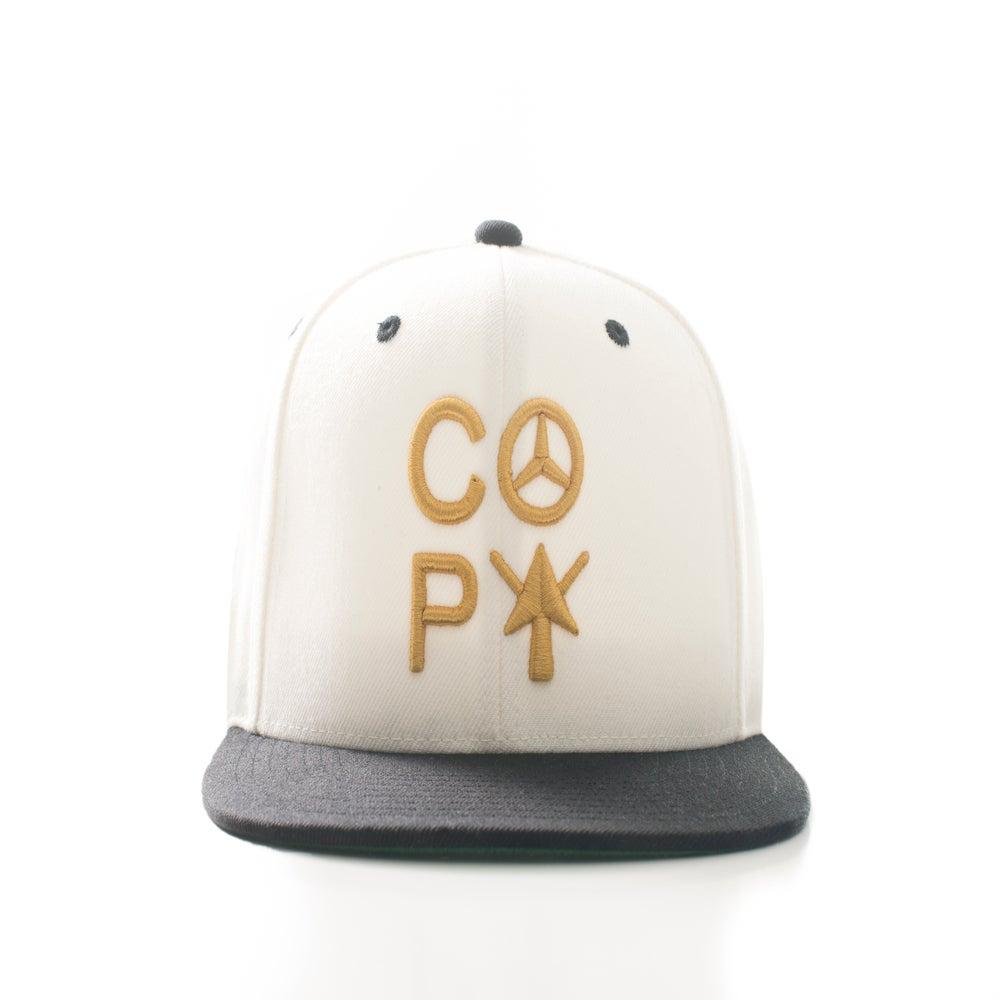 Image of C.O.P.Y Logo snapback (WHITE/BLACK/GOLD)