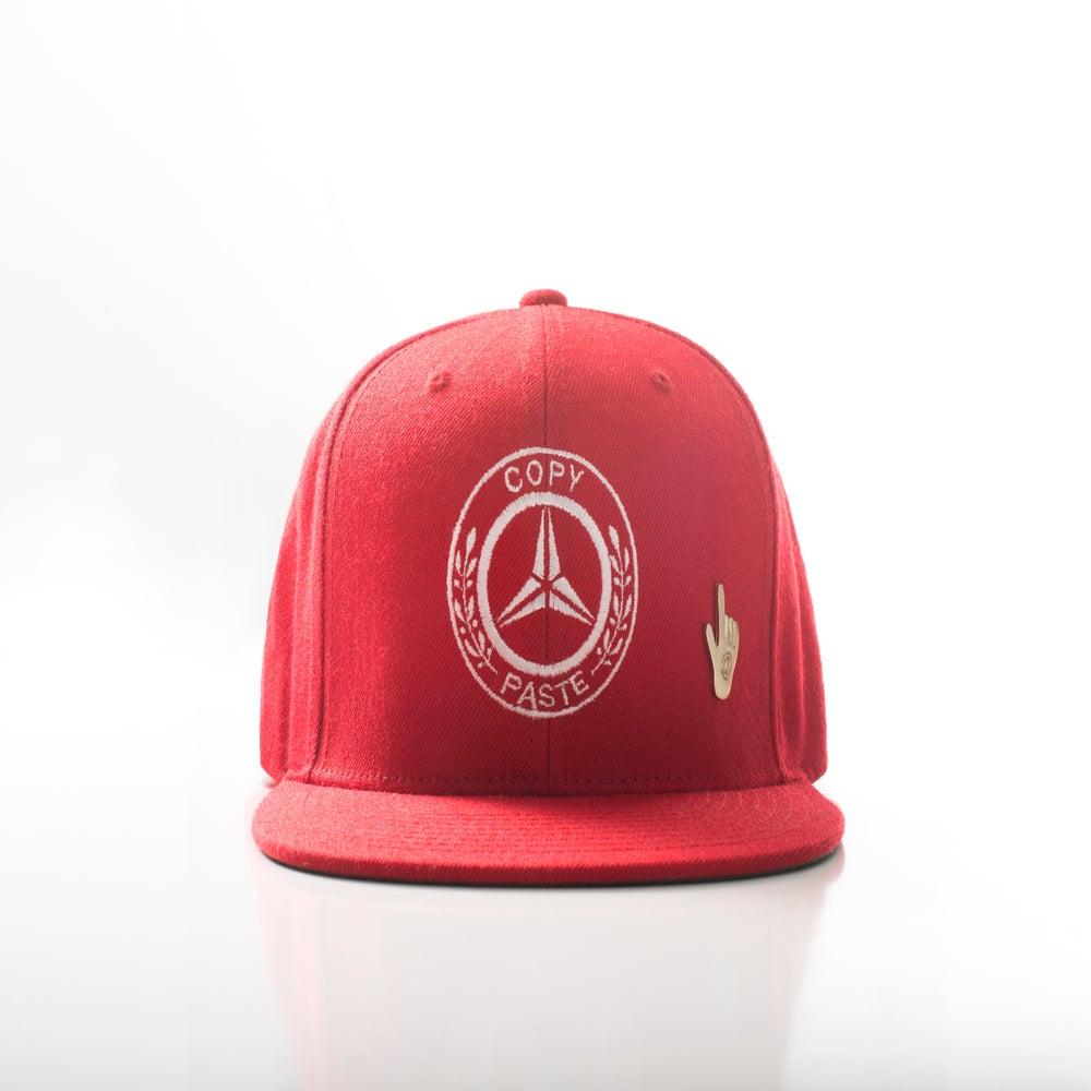 Image of BENZ Logo snapback with C&P adjustable pin (RED/WHITE)