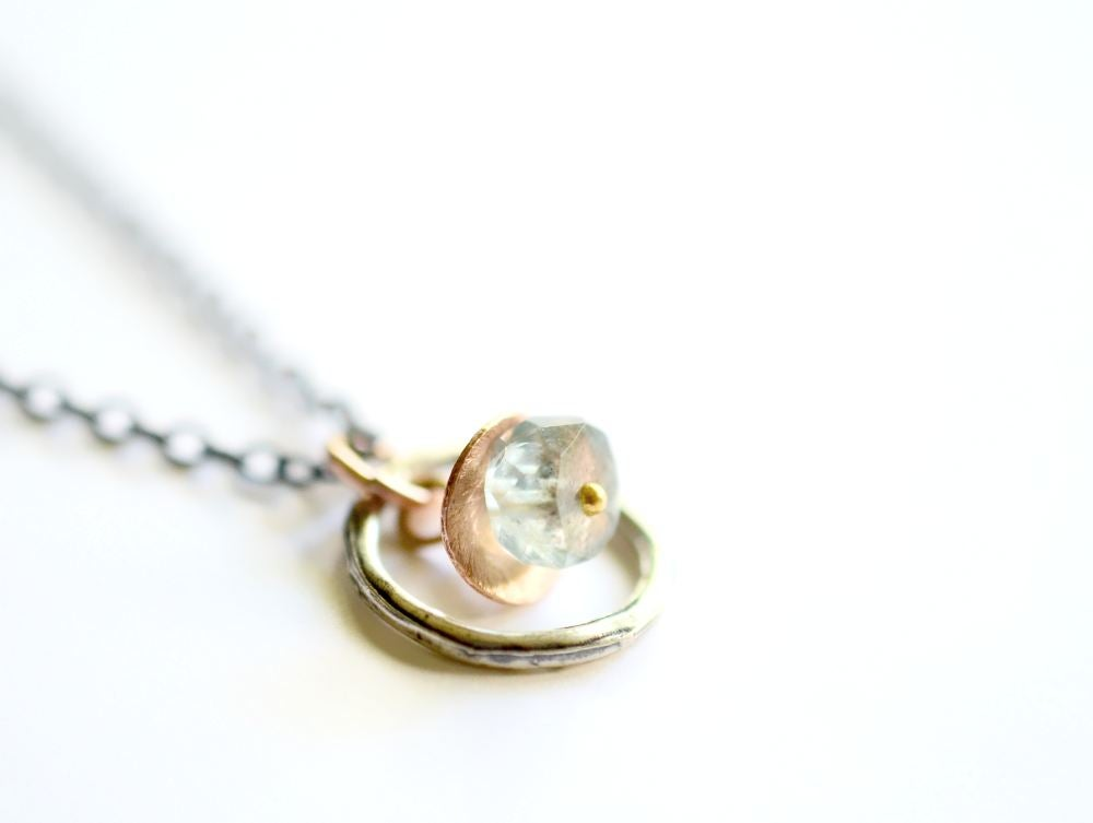 Image of Aquamarine circle necklace, mixed metal