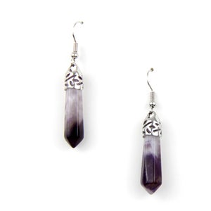 Image of Bullet Point Amethyst Earrings, SW281 Amy