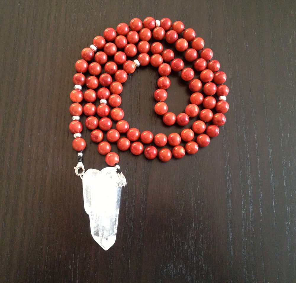 Image of Red Coral & Snow Quartz Infinity Mala