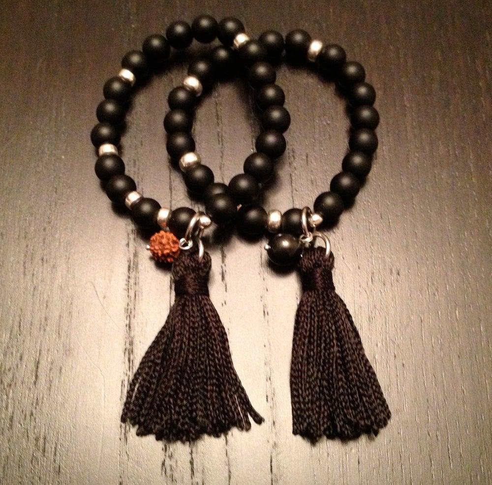 Image of Infinity Wrist Mala with Onyx & Tassel