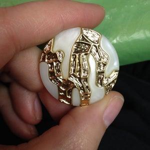 Image of Pearl & Gold Zig Zag Plugs (sizes 0g- 1 1/8)