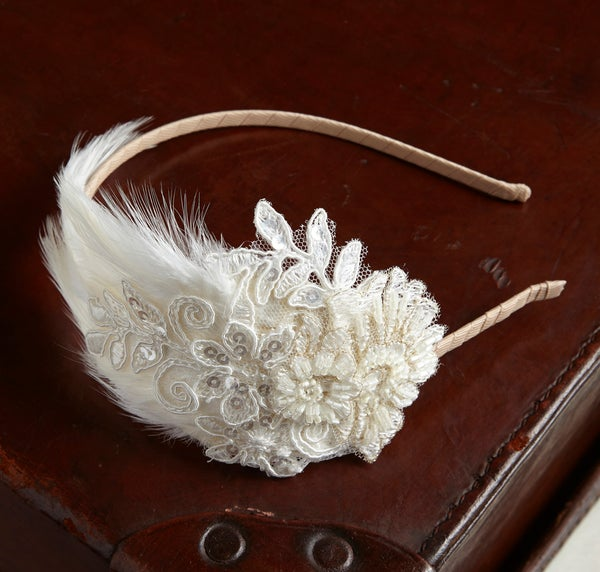 Primrose - Feather and Lace Bridal Headpiece - Laura Pettifar Designs