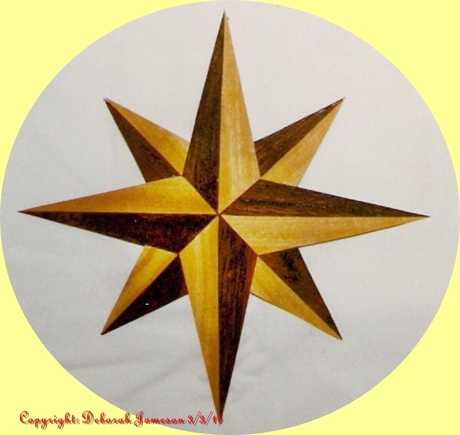 Image of Item No. 36.  Marquetry Inlay Rosewood and Satinwood Star Design.