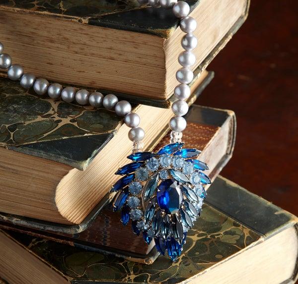 Lola Vintage Blue Crystal Necklace with Pearls - Laura Pettifar Designs