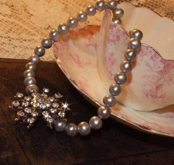 Ella Vintage Diamante Necklace with Fresh Water Pearls - Laura Pettifar Designs