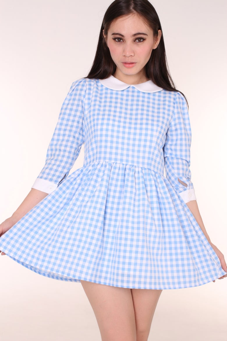 Image of Made To Order - Caroline Baby Doll Dress in Blue Gingham